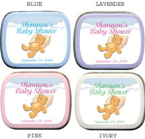 Filled Floating on a Cloud Sleeping Baby Bear Shower Tin imagerjs
