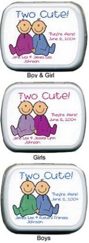 Filled Two Cute Twins Birth Announcement Tins imagerjs