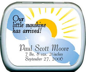 Filled Our Little Sunshine Birth Announcement Tins imagerjs
