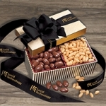 Gold Striped Nuts and Chocolate Box with Logo Ribbon
