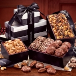 Elegant Black Gift Tower of Food Favorites