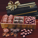 Premium Chocolates in Black and Gold Logo Box