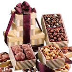 Gold Stripe Chocolate & Nut Trio Gift Tower