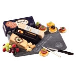 Genuine Slate Logo Serving Plate with Cheese & Sausage
