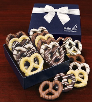 Chocolate Covered Pretzels in Logo Gift Box imagerjs