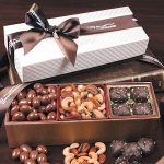 Trio of Tempting Delights in White and Brown Logo Box