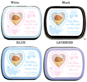 Filled Custom Heart Photo Christening Tin Favor imagerjs