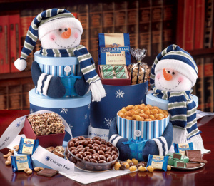 Deluxe Snowman Sampler Tower with Logo Ribbon imagerjs