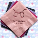 Baby Clothesline Design Personalized Napkins (25 Colors)