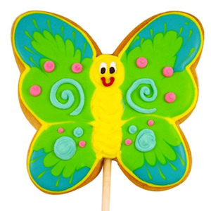 Green Butterfly Decorated Sugar Cookie Favor imagerjs