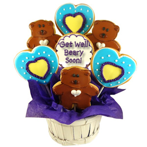 Get Well Beary Soon Heart and Bear Sugar Cookie Bouquet imagerjs