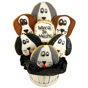 True 'Wuv' Dog Sugar Cookie Bouquet imagerjs