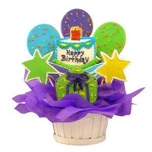 Happy Birthday Balloons and Stars Sugar Cookie Basket imagerjs