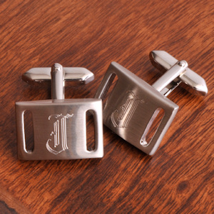 Silver Slotted Engravable Cuff Links with Initial imagerjs