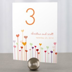 Personalized Hearts Table Number Cards (4 Colors) image