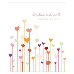 Personalized Hearts Rectangular Favor Stickers (4 Colors) image