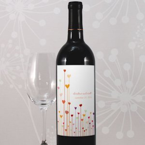 Personalized Hearts Wine Bottle Labels (Set of 8 - 4 Colors) image