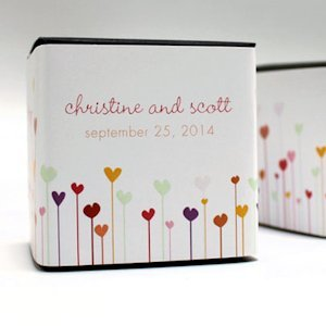 Personalized Hearts Favor Box Wraps (Set of 20) image