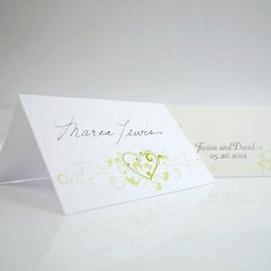 Heart Filigree Wedding Place Cards (Set of 6) image