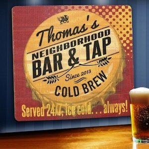 Personalized Served 24-7 Tavern Wood Sign image