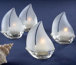 Glass Sailboat Tealight Candle Holders (Set of 4) image
