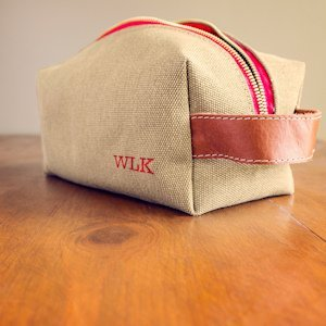 Personalized Canvas & Leather Toiletry Bag (2 Colors) image