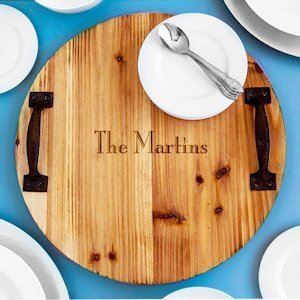 Personalized Rustic Wood Tray with Metal Handles image