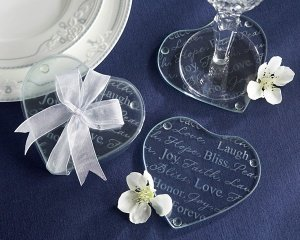 Heart-Shaped Words of Love Wedding Favor Coasters image