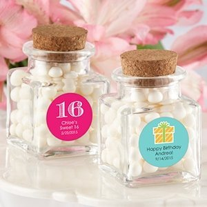 Personalized Square Birthday Favor Jars (Set of 12) image