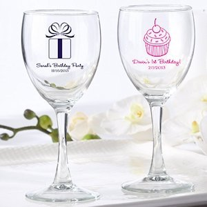 Personalized Birthday Wine Glass Favors image