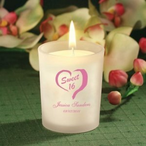 Custom Sweet 16 Frosted Glass Candle Favor image