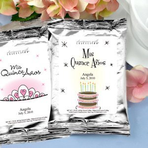 Personalized Silver Coffee Favors for Quinceaneras image