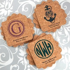 Personalized Monogram Square Cork Coasters (Many Designs) image
