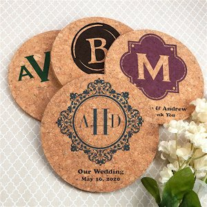 Personalized Monogram Round Cork Coasters (Many Designs) image