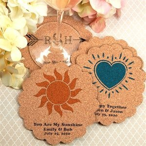 Personalized Scalloped Cork Coaster Favors (Many Designs) image