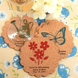 Garden Party Personalized Scalloped Cork Coasters image