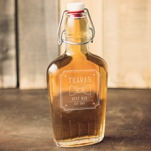Personalized Groomsman Bow Glass Flask image