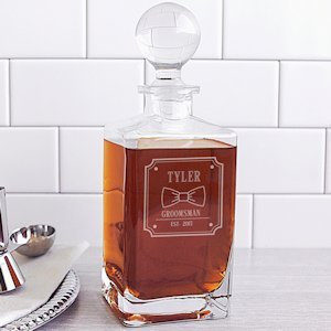 Personalized Groomsman Bow Tie Square Whiskey Decanter image
