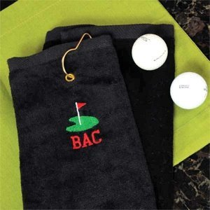 Personalized Black Golf Towel image