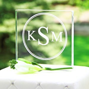 Modern Monogram Wedding Cake Topper - Square Acrylic image