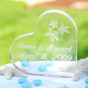 Heart-Shaped Personalized Beach Wedding Cake Topper image
