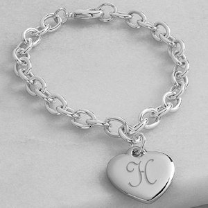 Engraved Initial Heart Charm Bracelet image
