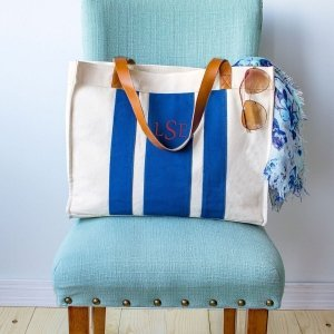 Personalized Stitched Stripe Canvas Tote (Blue or Grey) image