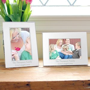 Personalized Beaded Silver Picture Frames image