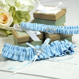 Blue Wedding Garter with Heart Charm image