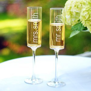 Contemporary Engraved Wedding Champagne Flutes (Set of 2) image