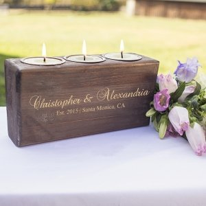 Personalized Rustic Head Table Candle Holder image