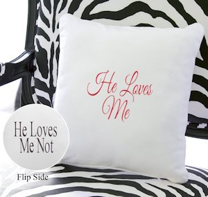 He Loves Me Throw Pillow image