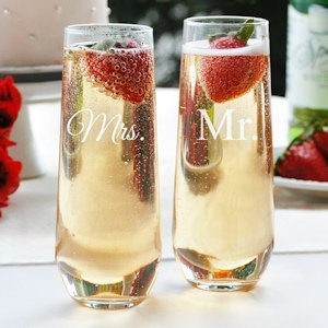 Mr. and Mrs. Stemless Champagne Flutes image