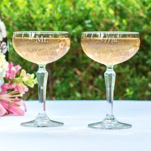 Mr. & Mrs. Champagne Coupe Toasting Flutes image